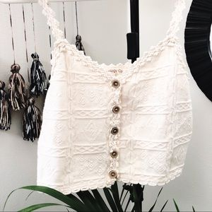 Tops - VTG Dainty ivory knit button front crop tank